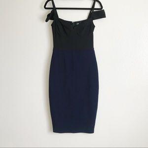 ASOS Navy Blue Off Shoulder Detail Bodycon Dress